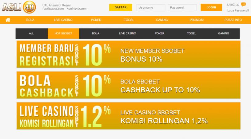 Bonus Rollingan Casino Tertinggi Agen Asli4D